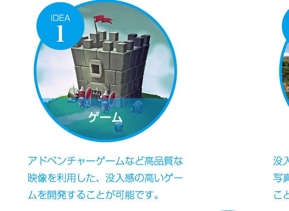 ゲーム アドベンチャーゲームなど高品質な映像を利用した、没入感の高いゲームを開発することが可能です。