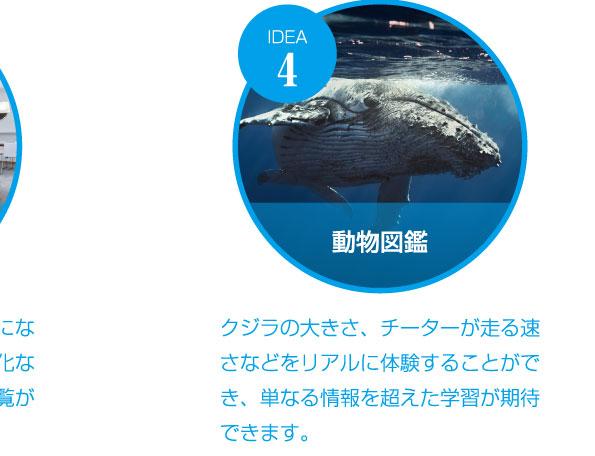 動物図鑑 クジラの大きさ、チーターが走る速さなどをリアルに体験することができ、単なる情報を超えた学習が期待できます。